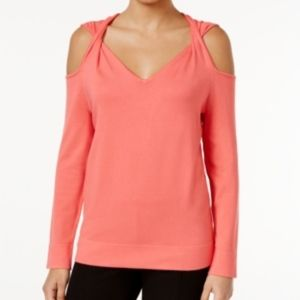 Alfani Cold Shoulder Twist Sweater Top Coral New
